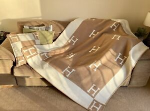 ON SALE!! Turkish cashmere large H blanket / throw / plaid  - Hermes inspired