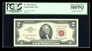 DBR 1963 $2 Legal Fr. 1513 PCGS 58 PPQ Serial A10979409A