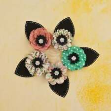 """new 2014 Prima Bloom One of a Kind 5 Mulberry Paper Flowers 3"""" with black leaves"""