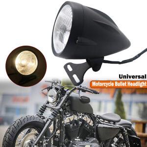 """Motorcycle 4.5"""" Retro Visor Bullet Headlight Lamp For Harley Dyna Bobber Chopper"""