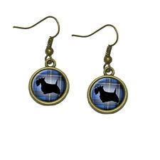Scottie Dog on Blue Plaid Scottish Terrier Dangle Dangling Drop Earrings