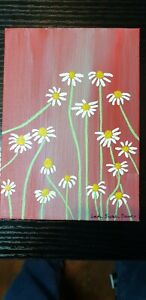 Original Daisies floral acrylic painting by UK artist