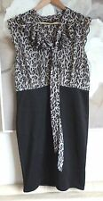 Dorothy Perkins Ladies Dress 14 Black Animal Print Chiffon Going out Smart
