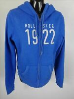 WOMENS HOLLISTER BLUE LONG SLEEVED ZIP UP HOODIE CASUAL PULL OVER SIZE MEDIUM M