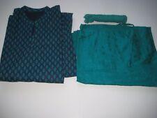 Salwar Suit 3 Pcs Set Navy Blue/Turquoise Size XL New