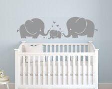 Bebé Elefante Pegatinas de pared Calcomanías familia lindo dormitorio decoración niños habitación pared gris