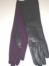 "Ladies Women's Genuine Leather & Wool 13.5"" Long Gloves,Black/Purple, M/L"