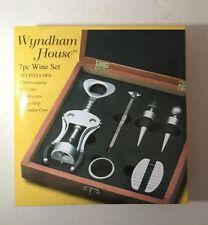 New Wyndham House 7 Pc Wine Set Thermometer Corks Corkscrew Wooden Case Box 1