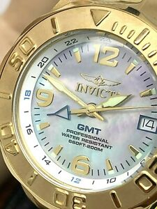 Invicta Women's Watch 6891 Pro Diver GMT Blue Dial Gold Tone Stainless Steel