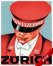 VINTAGE ZURICH SWITZERLAND ADVERTISEMENT TRAVEL AD POSTER ART REAL CANVAS PRINT
