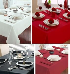 WHITE RED BURGUNDY PURE COTTON DRILL TABLE CLOTH COVER / MATCHING NAPKINS SET
