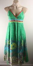 GEISHA GIRL-AsNEW FESTIVE-GREEN MAXI summer COTTON Dress SIZE S