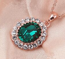 18K Rose Gold Filled Green SWAROVSKI Crystal Necklace Stunning Fashion Gift