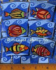 Wow PISCES FISH OCEAN WAVES SHELLS * RaRe hand cut china mosaic TILE tiles *