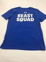 Boys Under Armour Heatgear Short Sleeve Shirt Youth Large Blue,Loose Fit