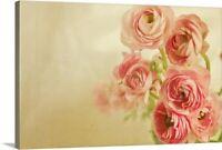 Pink ranunculus bunch of flower. Canvas Wall Art Print, Floral Home Decor