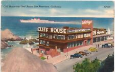 Postcard CA San Francisco Cliff House & Seal Rocks Ship 1950s Cars
