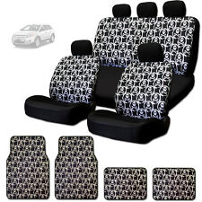 NEW COOL SKULL DESIGN FRONT AND REAR CAR SEAT COVERS FLOOR MATS SET FOR FORD