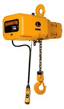 Harrington 1 Ton 3 Ph Elec Chain Hoist 10 Of Lift Hook Mounted 230460v