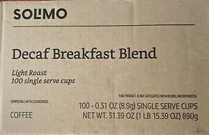 Amazon Brand - 100 Ct. Solimo Decaf Light Roast K-Cups,Breakfast Bl Exp jan 2022