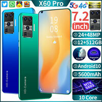 "2021 X60Pro 12+512GB 7.2"" Android 10 Smartphone Unlocked 24MP+48MP Mobile Phone"