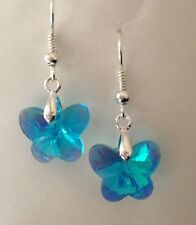 Crystal Butterfly Earrings - Blue AB Glass Beads - Wedding Bridesmaids Jewellery