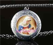 Mary & Jesus Photo Cabochon Glass Tibet Silver Locket Pendant Necklace