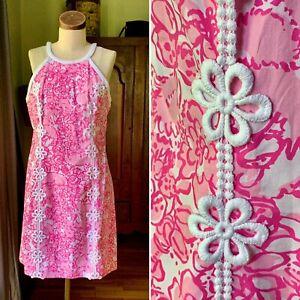 LILLY PULITZER NWOT Shift Cotton Crochet Pink White Dress SIZE 8 Fox Print