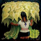 """30W""""x30H"""" FLOWER VENDOR by DIEGO RIVERA - SPANISH PAINTER CHOICES of CANVAS"""