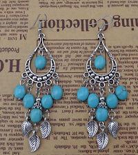 Fashion Women's Tibetan Silver Turquoise Leaf Long Dangle Style Stud Earrings