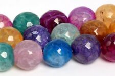 10MM Natural Multicolor Agate Beads Grade A Faceted Round Loose Beads 14.5""