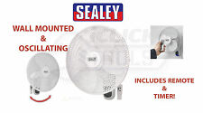 """SEALEY 16"""" Wall Mounted Oscillating Cool Fan 230V Remote Control 3-Speed SWF16WR"""