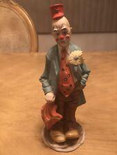 "Vintage Arnart Clown Umbrella 1984 Ceramic Figurine 9"" Tall Flower Big - Euc"