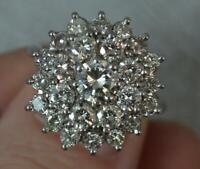 Huge Bling 2.00 Carat Diamond and 18 Carat White Gold Cluster Ring d0261