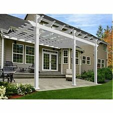 New England Arbors Valencia 12' x 16' Attached Pergola, White