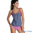 Plus Size Women Two Piece Sporty Bikini Set Tankini Top Shorts Swimwear Bathing
