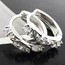 EARRINGS HUGGIE HOOP GENUINE REAL 18K WHITE G/F GOLD DIAMOND SIMULATED DESIGN
