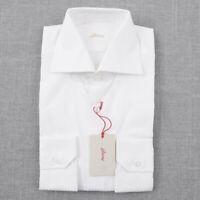 NWT $675 BRIONI White Twill Stripe Extrafine Cotton Dress Shirt 15 x 35