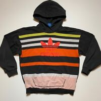 Adidas Mens Hoodie Brown Orange Striped Kangaroo Pockets Long Sleeve Pullover M