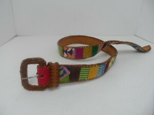 Handmade Needlepoint Colorful Bold Squares & Brown Leather Belt - Size M