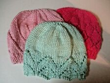 Hand Knitted Ribete De Encaje Baby sombreros con puntilla recién nacido 4 Tonos