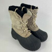 Quest Womens Pac Winter Boots Beige Leather Faux Fur Trim Insulation Lace Up 6 N