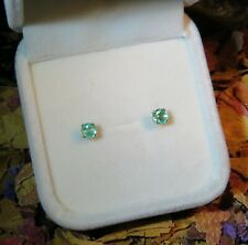 Pretty genuine natural Spearmint Green Emerald 4mm yellow gold stud earrings ❇️