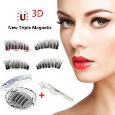 4 X Long Mink Lash Triple Magnetic 3D Natural False Eyelashes Handmade Reusable
