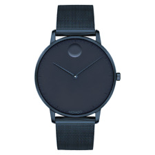 Movado FACE, Navy Ion-Plated Stainless Steel Case Navy Dial, Mesh Bracelet Watch