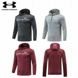 Under Armour zipper Mens Hooded Sweatshirt Half Pullover UA Jumper Hoody Hoodie