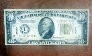1934-A $10 HAWAII OVERPRINT WORLD WAR II NOTE ~ NICE COLLECTOR GRADE