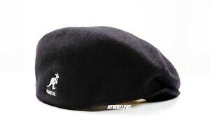 NWT KANGOL SIGNATURE LOGO CLASSIC IVY HAT CAP 100% PURE WOOL S M L XL XXL BLACK