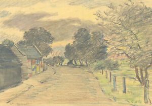 George William Collins (1863-1949) - Crayon, Near Bromley