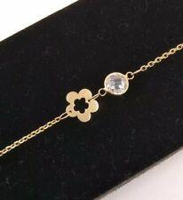 Bracelet Gold 18k. Flowers And Zircons